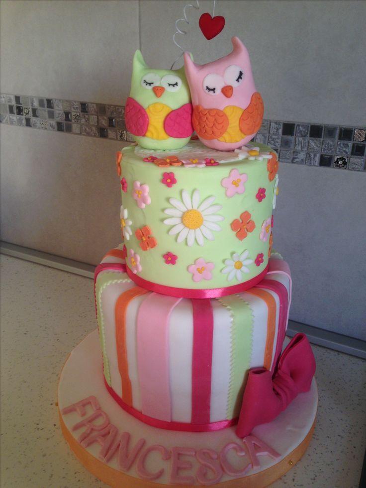 Owl cake, torta gufetti, colori pastello