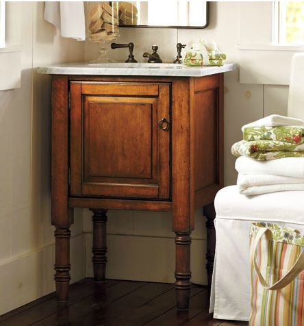 Super cute small vanity. Good alternative to a pedestal sink!  Found here: http://theinspiredroom.net/2012/02/22/small-house-solutions-for-more-space/