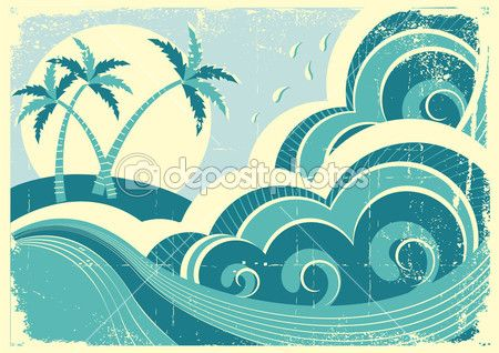 sea waves and island. Vector vintage graphic illustration of wat