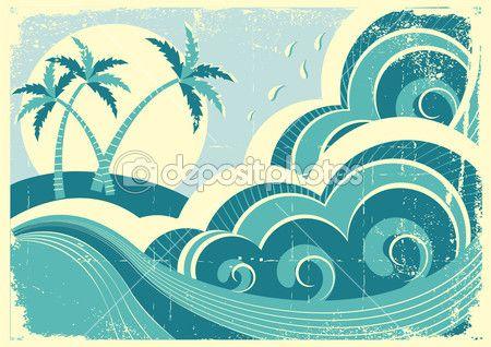las olas del mar y la isla. Vector vintage ilustración gráfica de wat —…