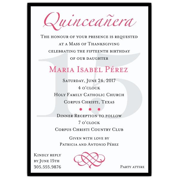 Best 25 quinceanera invitation wording ideas on pinterest sweet classic hot pink quinceanera party invitations stopboris Images