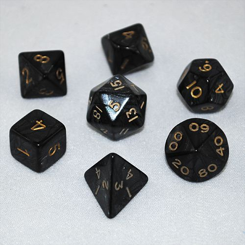 Set of 7 Pearled Black Dice - RPG board games