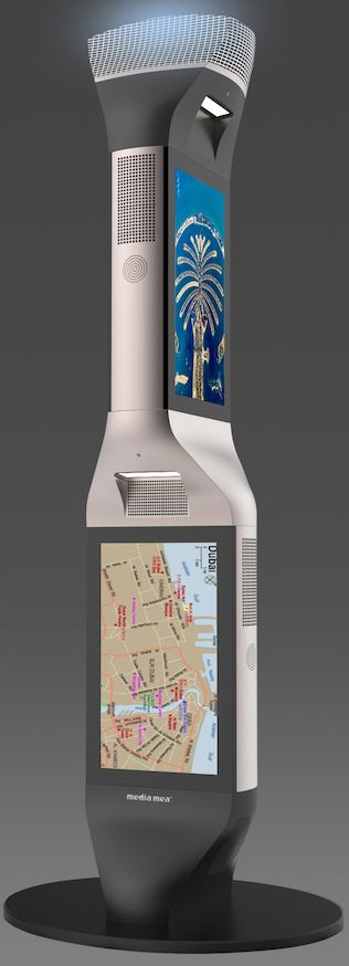 MENi 4 Sided Interactive Digital Signage Display Totems (Outdoor)  The MENi 4 sided Full HD LCD information gathering totems is designed to withstand highest global recorded heat and lowest global recorded cold environments. Our unique active cooling system is designed to allow the digital LCD screen to be placed in cold and hot environments even in direct sunlight. Industrial Grade DID LCD with Super High brightness ranging from from 2500 nits up to 5000 nits and High Contrast.