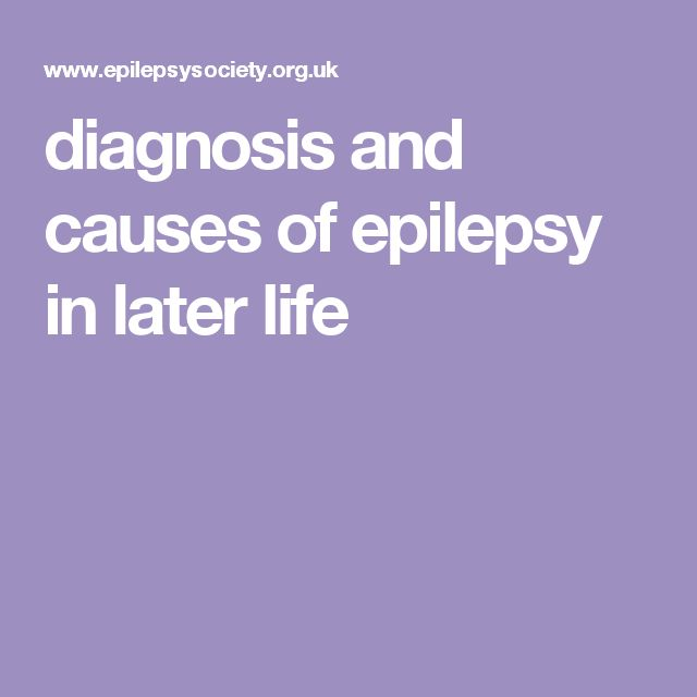 diagnosis and causes of epilepsy in later life