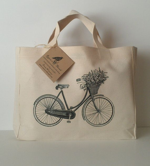 Vintage Bicycle Flower Basket Tote Bag Cotton Canvas