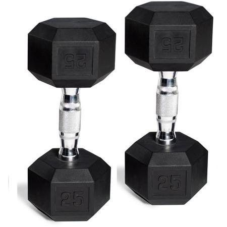 CAP Barbell Rubber-Coated Hex Dumbbells, Set of 2, Weight: 15 Lb Pair (30 Lbs Total)