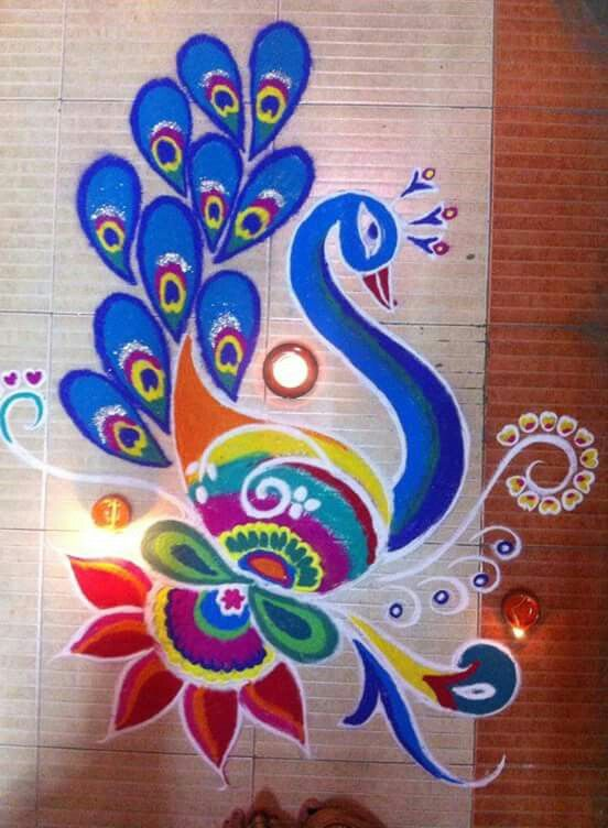 Just superb art work on this peacock Rangoli