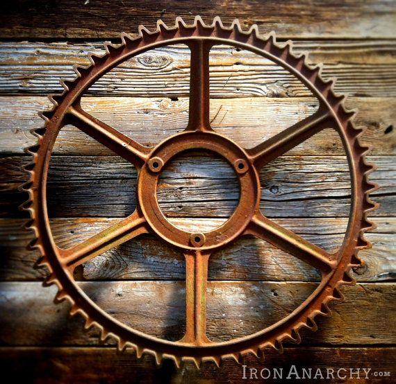 Cast Iron Wheels And Gears : Large antique industrial gear vintage cast iron metal