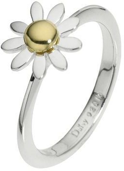 Daisy Alpha sterling silver gold-plated ring Size P