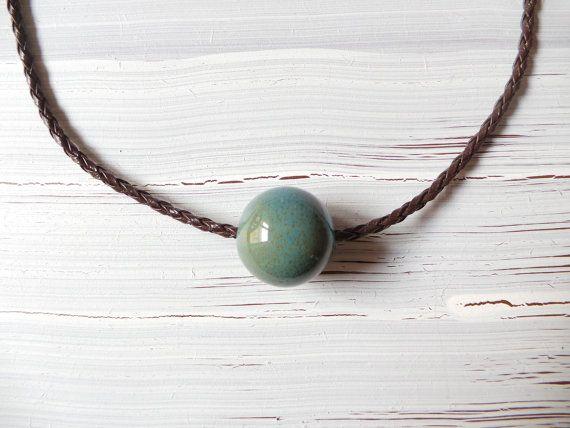 New minimalist necklace ceramic bead by fundademircan on Etsy, $9.00