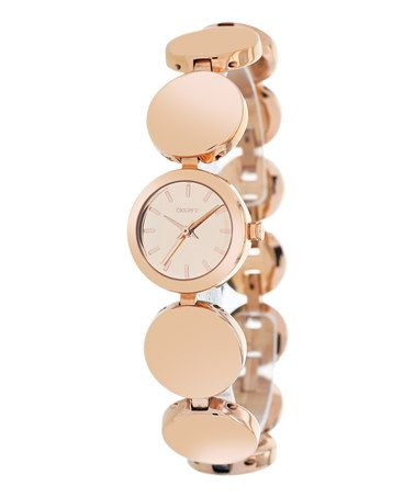 This Rose Gold Disc Bracelet Watch by DKNY is perfect! #zulilyfinds