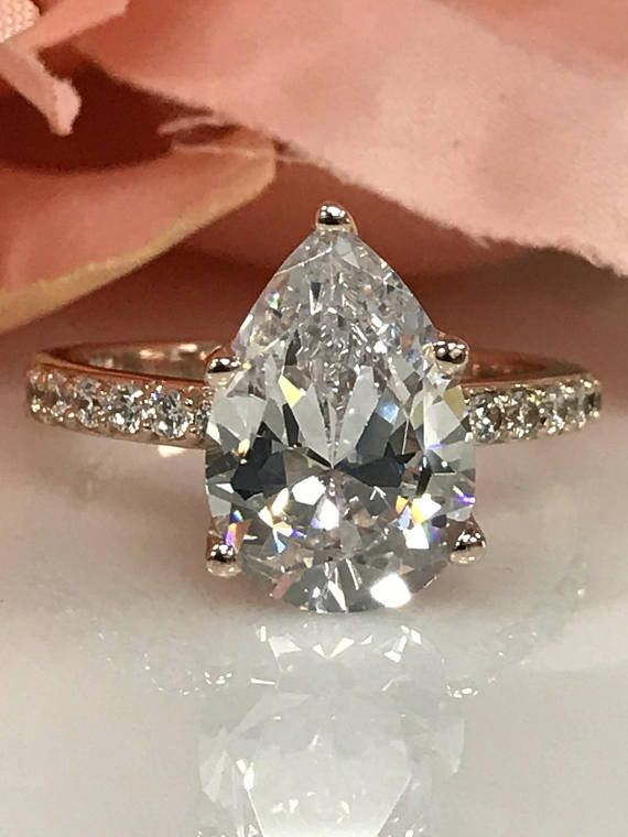 0b99c459f5227 4.50 ctw. Russian Cut Pear Shape Simulated Diamond with Round ...