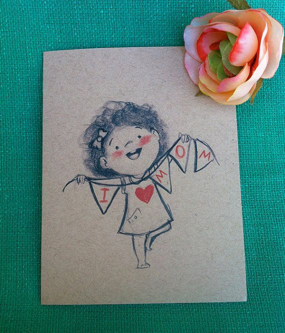 I Love Mom Mother's Day Card (GIRL)   by GenevieveSantos, $4.00