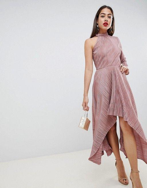 44227b0b950da DESIGN asymmetric one sleeve plisse dress | Outfit | Dresses, Asos ...