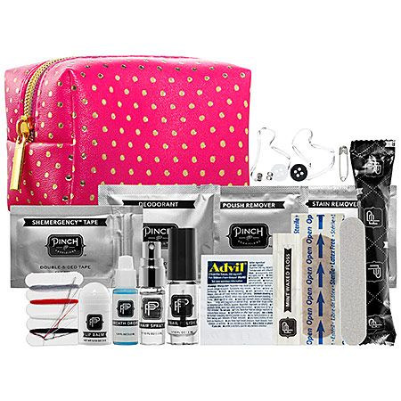 Minimergency® Kit For Her - Fuchsia with Gold Dots - This set contains: - Adhesive bandage  - Safety pin  - Earring backs  - Deodorant towelette  - Nail polish remover pad  - Stain remover pad  - Clear elastics  - Lip balm  - Emery board  - Tampon  - Hair spray  - Clear nail polish  - Dental floss  - Mending kit  - Breath freshener  - Double-sided tape  - Pain reliever