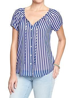 Women's Cap-Sleeve Chiffon Blouses | Old Navy