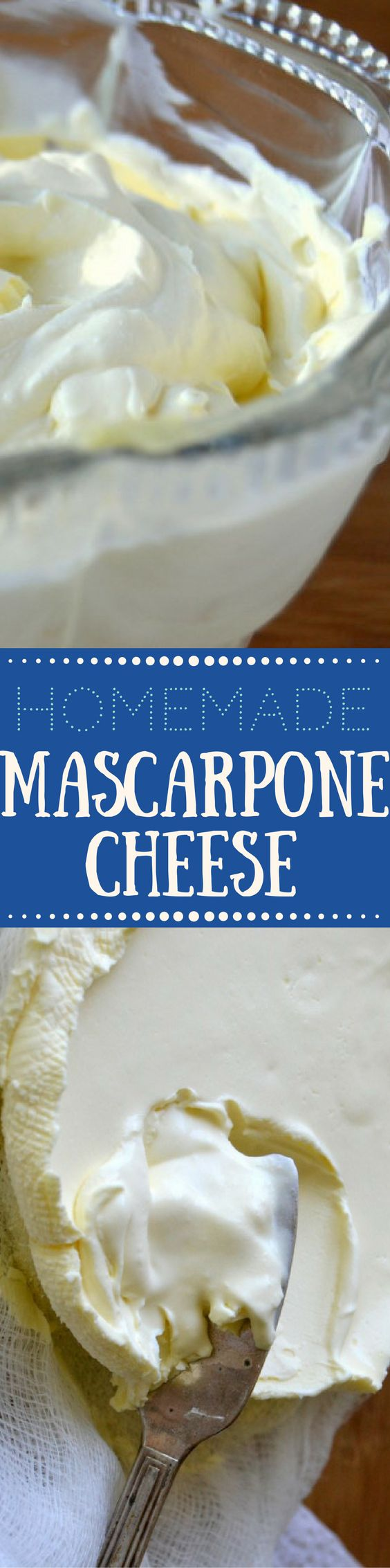 reamy homemade mascarpone cheese is easy and fun to make right in your own kitchen --- use it in all sorts of authentic Italian recipes, both sweet and savory --- and save a lot of money while you're at it! | DIY | Cheese making |