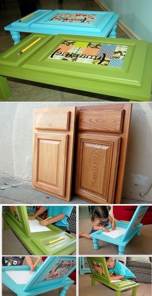 DIY children desk from a cupboard door