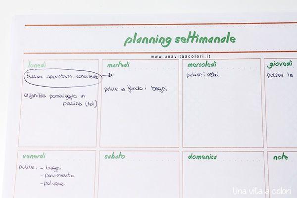 planner settimanale da scrivania