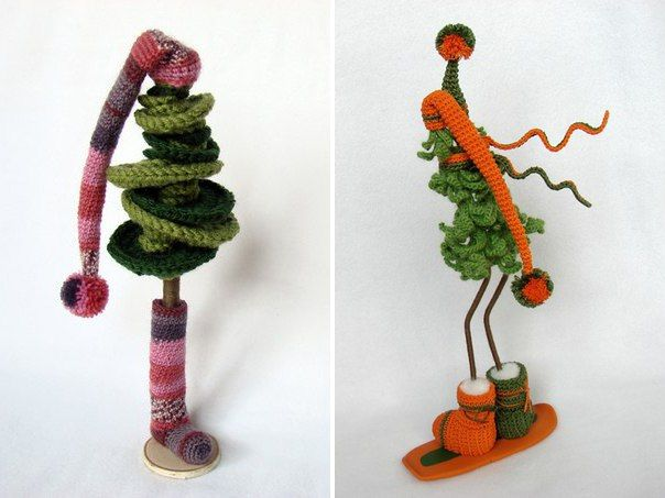 christmas craft ideas: funny and cute crochet christmas trees | make handmade, crochet, craft
