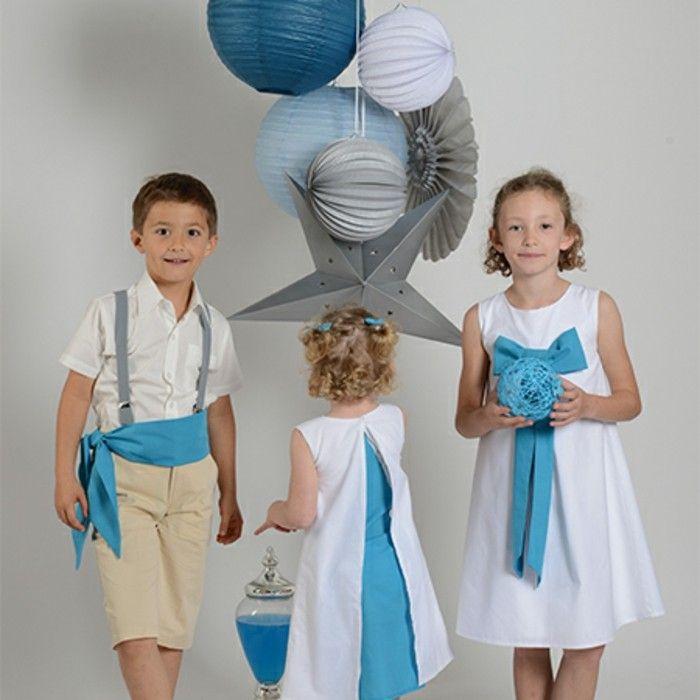 tenue mariage enfant Cortege d'anges demoiselles et garcon d'honneur en blanc et turquoise