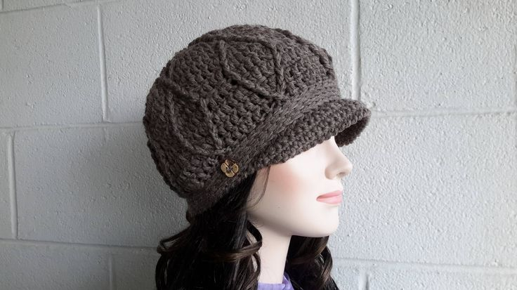 Newsboy womens visor hat Crochet Hat Buckle Beanie Brimmed hat Brimmed beanie Billed beanie Driver Cap Wool Billed hat cap winter hat by HandMadeFashions on Etsy
