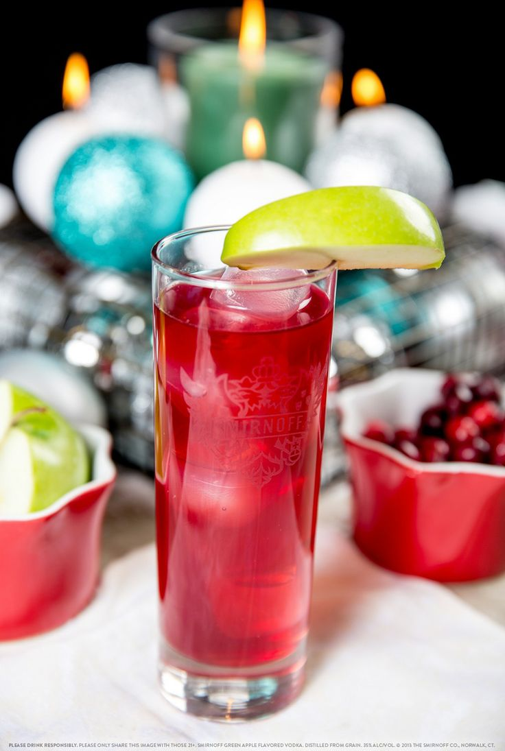 Smirnoff Red Apple with 1.5 oz SMIRNOFF® Green Apple Flavored Vodka and 3 oz cranberry juice. Fill glass with ice. Add SMIRNOFF® Green Apple Vodka and cranberry juice. Stir well. #Smirnoff #drink #recipe #holiday