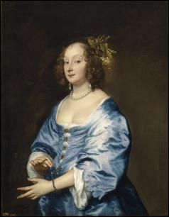 Half length oil portrait of a woman with a blue dress wearing pearls, set against a brown background