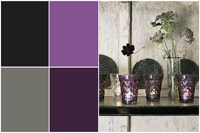 *inspiration* i love this color palette for the guest bedroom: Eggplant, Plum, Charcoal and Gray