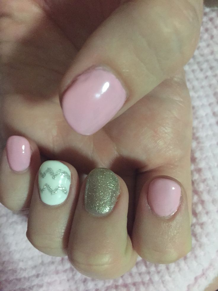 Pink gold and chevron nails!