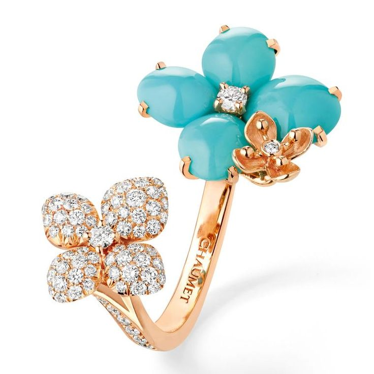 Chaumet's Hortensia Eden turquoise and diamond open ring. http://www.thejewelleryeditor.com/shop/product/chaumet-hortensia-eden-turquoise-and-diamond-open-ring/?current_section=jewellery #jewelry