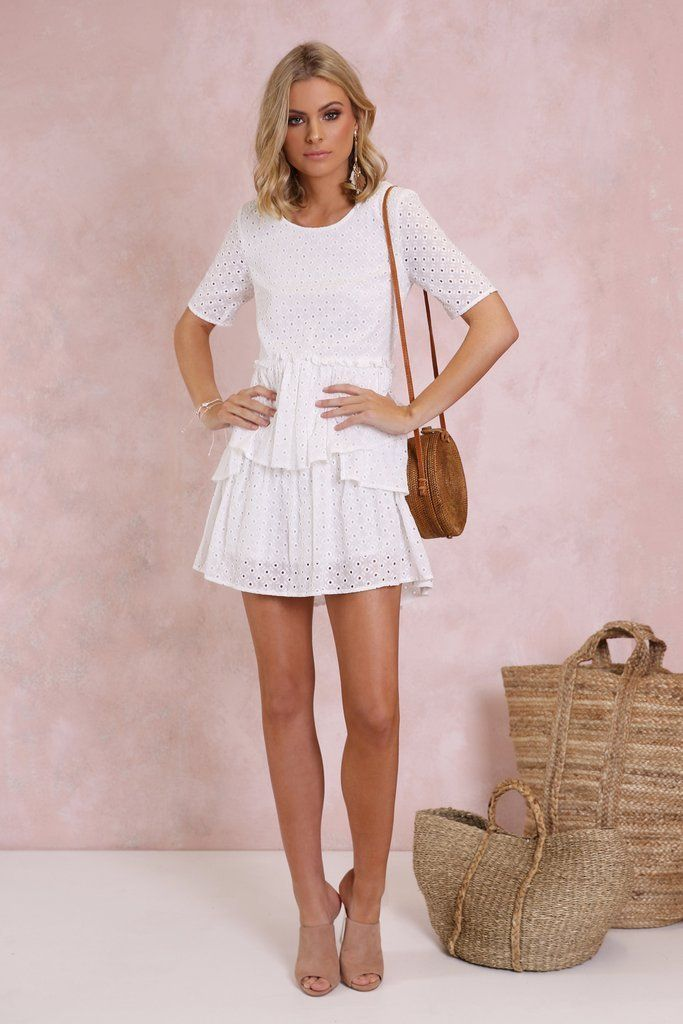 Sweet ruffles and lace ticking all of our spring wardrobe boxes. Featuring a classic boxy silhouette with ruffle skirt, the White Lies dress has a round necklin