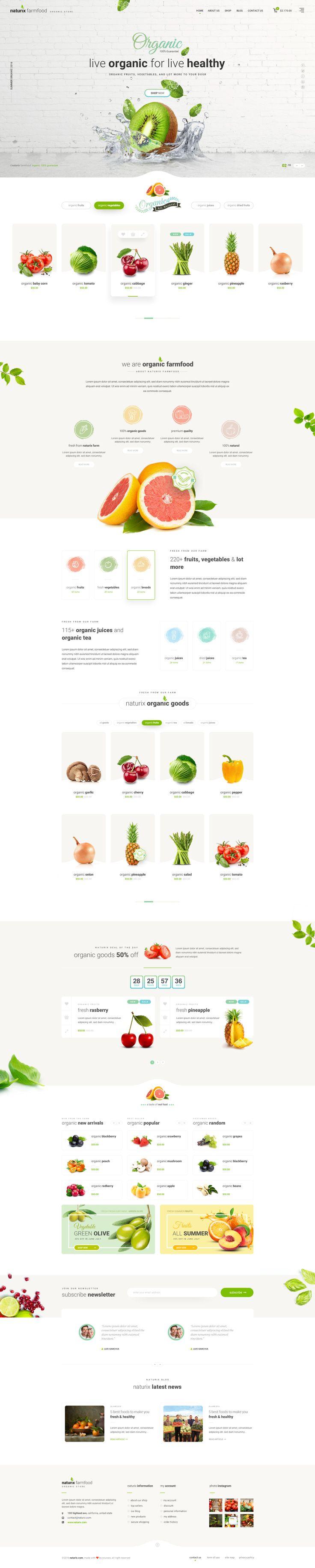 Naturix - Organic Store PSD Template #vegetables • Download ➝ https://themeforest.net/item/naturix-organic-store-psd-template/19184061?ref=pxcr