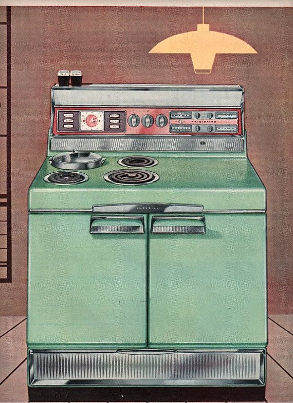 vintage mid century turquoise stove oven 1955 by FrenchFrouFrou, $12.95