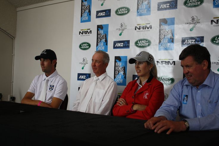The press conference with L-R eventing winner Clarke Johnstone, dressage winner Bill Noble, Olympic Cup winner Katie McVean and show director Kevin Hansen