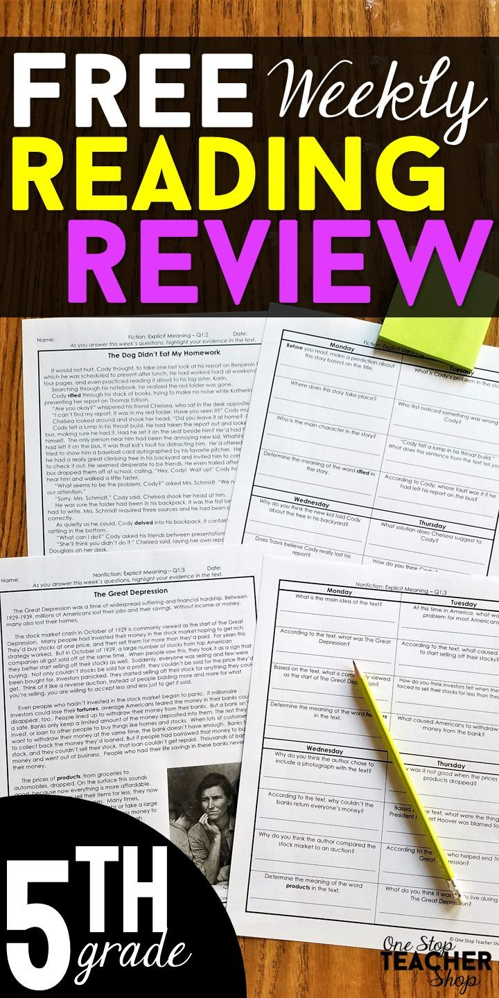 FREE 5th Grade reading homework or morning work that provides a daily  review of ALL 5th grad…   Reading homework [ 1440 x 720 Pixel ]
