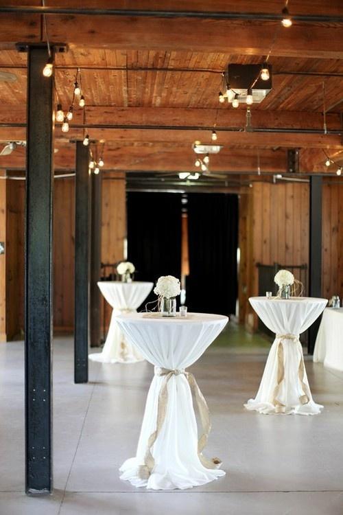 Cocktail tables: white linen, burlap tie