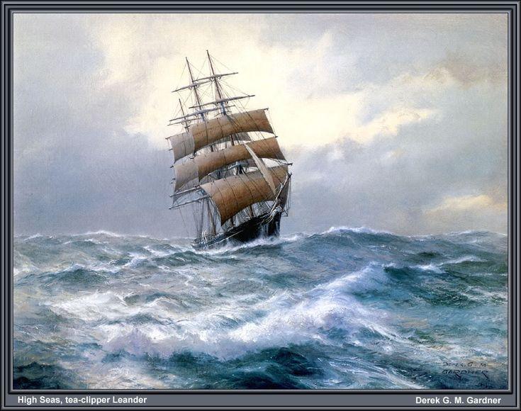 Sailing Ship Paintings | Gardner,Derek-HighSeas - oil on canvas