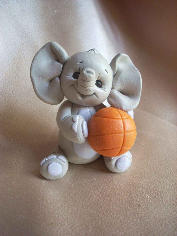 elephant Christmas ornament Cake Topper baseketball sports personalized polymer clay animal children. $18.95, via Etsy.
