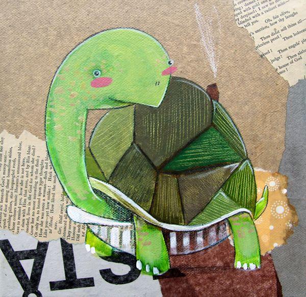 Turtle illustration - Tortuga: Ilustración en técnica mixta sobre lienzo 20x20cm --- Realmente no hay mucho que decir acerca de ellas. La tortuga se utiliza como adjetivo para una persona lenta, y eso lo dice todo. Si pensamos en un animal lento es el primero que se nos viene a la cabeza. En el lado positivo, pueden vivir hasta los 150 años. Se mueven a 0,25 KM/H.
