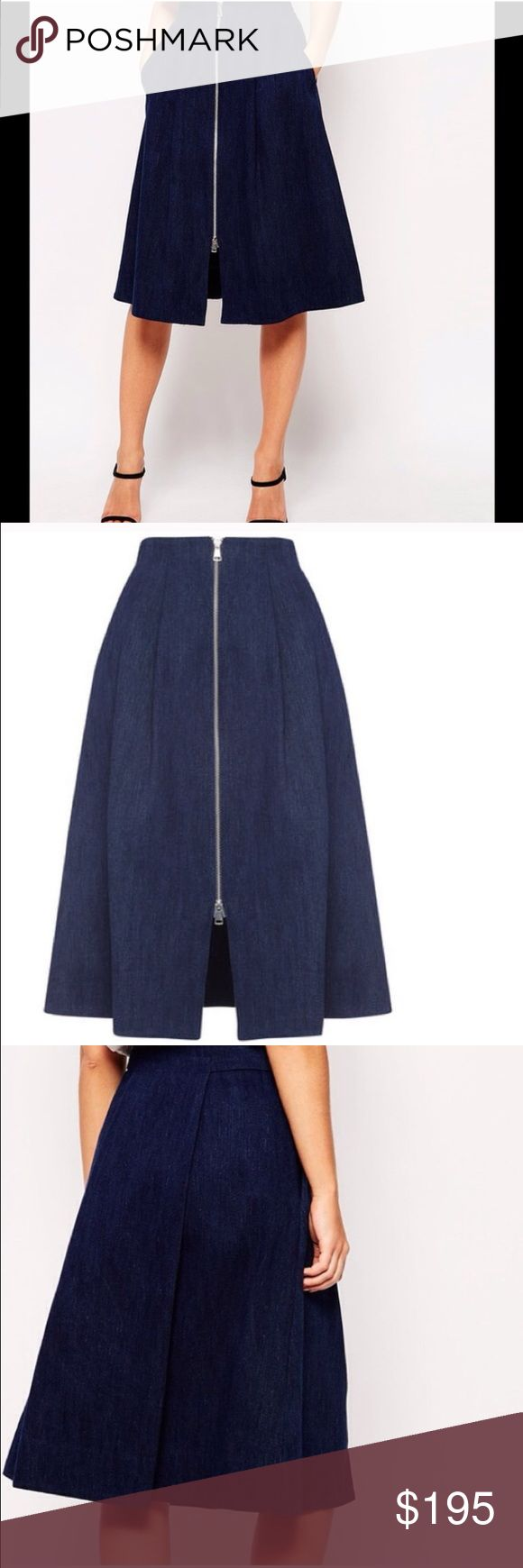 NWT Whistles Dark Denim Zip Through Midi Skirt From British retailer WHISTLES comes this brand new skirt. 100% denim, a-line skirt with a fitted waist & flattering pleats. Deep front pockets on the hip. NWT. Waist 26 x length 28. UK10/US6 Whistles Skirts A-Line or Full