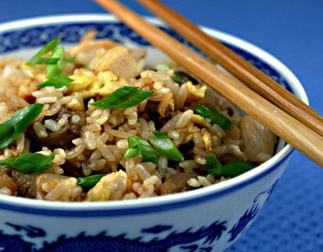 Chicken (or turkey) fried rice, so easy to make with cold cooked rice in the refrigerator.