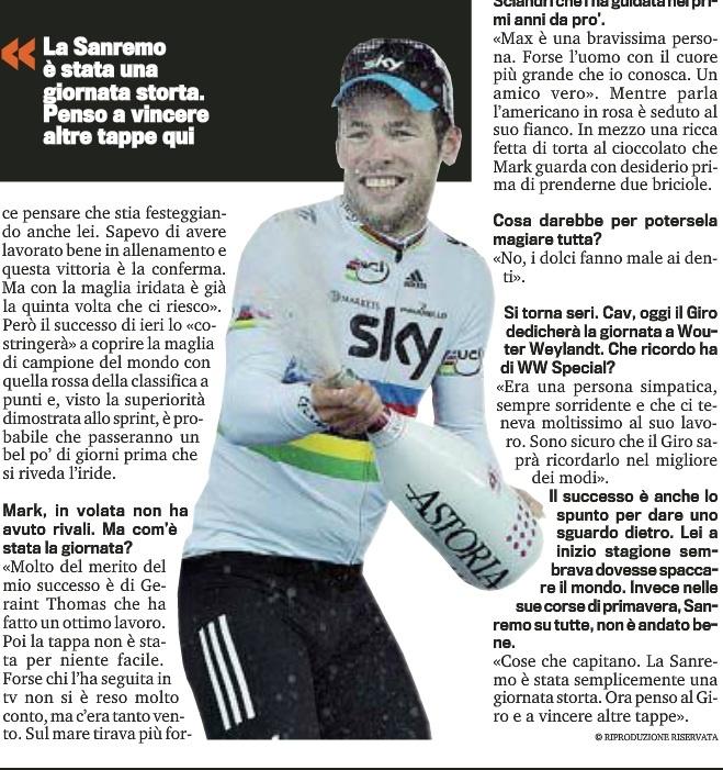 Gazzetta dello sport Mark Cavendish festeggia la vittoria al Giro con Astoria 9.5 Pink