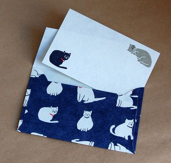 Set Small Size  letter writing set, note writing set, Cat Buste e Carta da lettere, Cat, Greeting Card