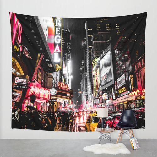 New York City Night II Wall Tapestry by Nicklas Gustafsson | Society6 #homedecor #tapestry #walltapestry #wallart #design #interiordesign #newyork #nyc #city #street #night #photography #desaturated #dark #colorful #manhattan #timesquare
