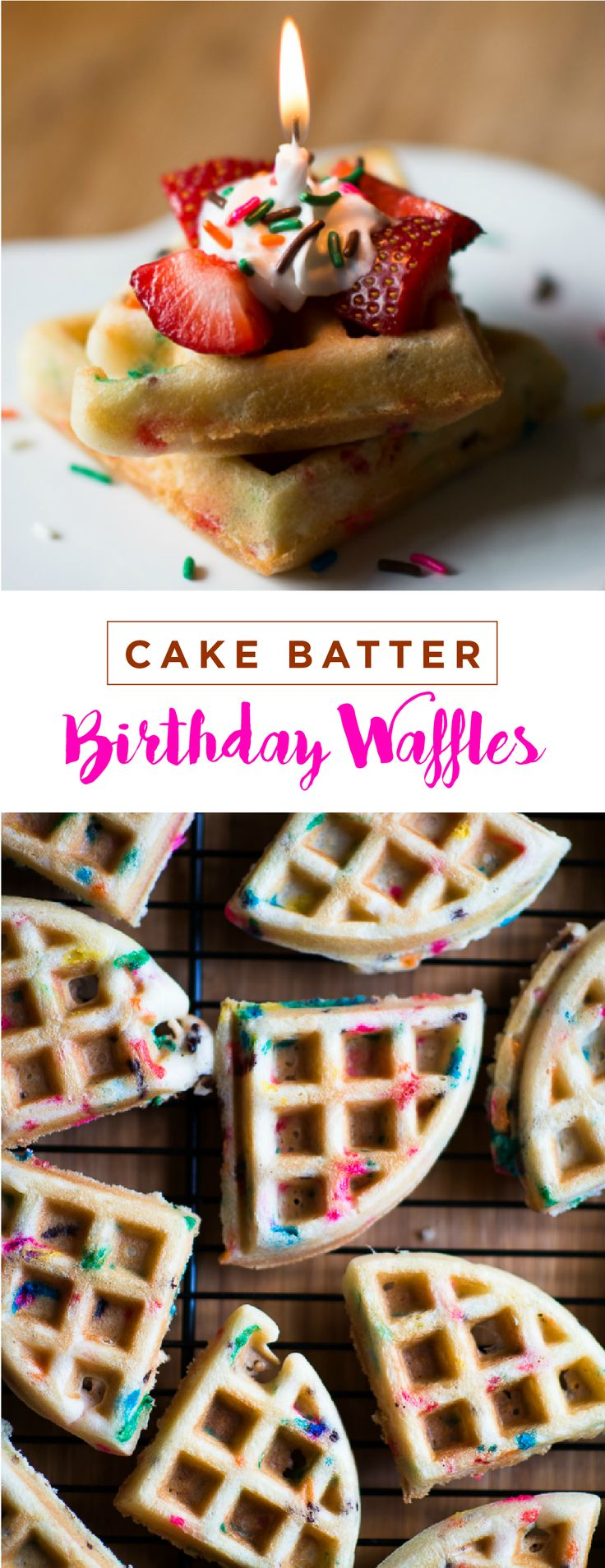 Wake the birthday girl or boy up on their special day with these festive Cake Batter Birthday Waffles. This simple recipe is made from a white cake mix and a few simple ingredients. Decorate them with fresh fruit, a candle, and more sprinkles for the ultimate birthday treat idea!