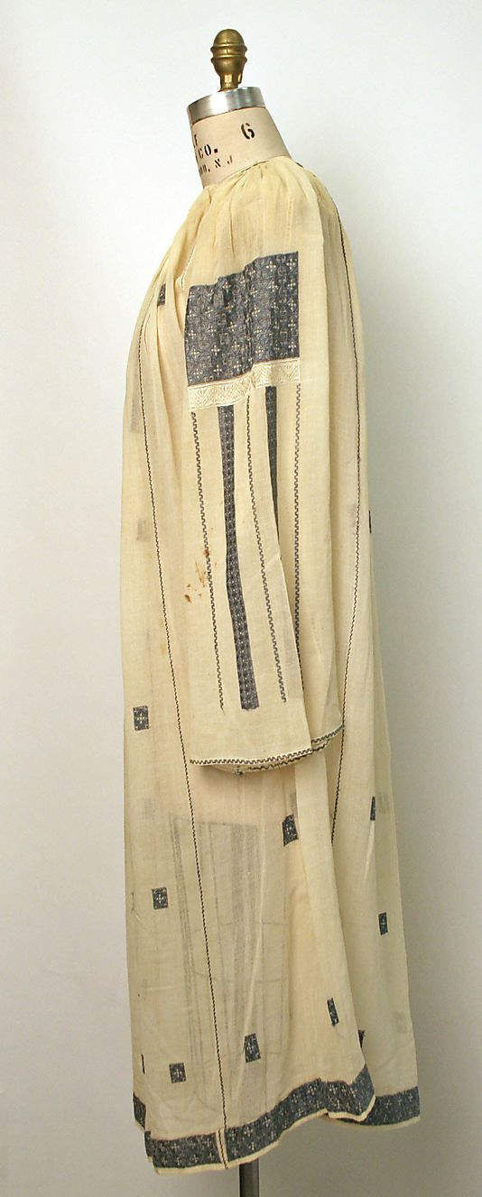 Dress Date: 1800–1945 Culture: Romanian Medium: cotton