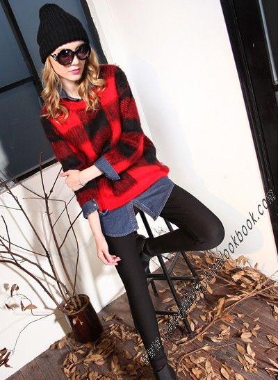 Fuzzy Plaid Sweater - New Arrivals -TeenFashion  #fashion #jumper #winter #sweater #top #teenfashion #ootd #potd