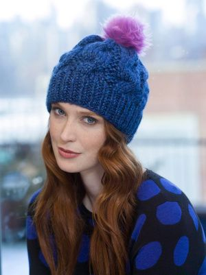 Lion Brand Chunky Cabled Hat Easy Level 2 Worked In The Round