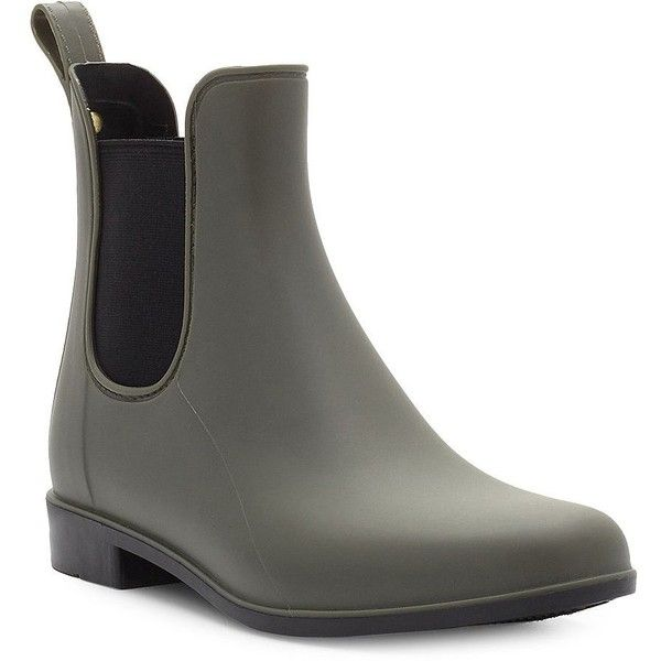 Sam Edelman Tinsley Rubber Ankle Boots (835 ARS) ❤ liked on Polyvore featuring shoes, boots, ankle booties, moss green, short rubber boots, round toe ankle boots, green rubber boots, sam edelman booties and green boots